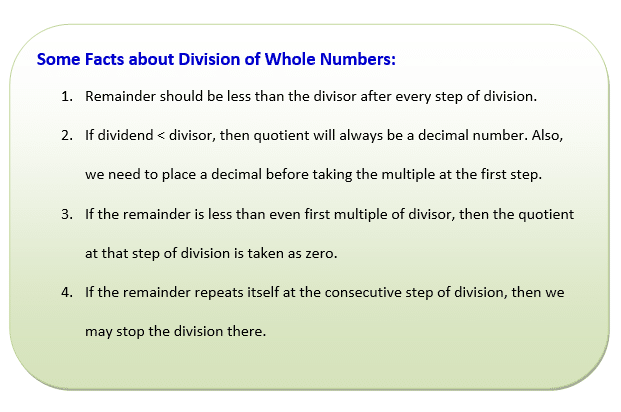 Divide Whole numbers facts