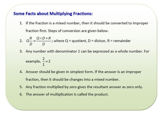 facts about multiplying fractions